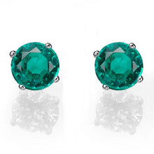 Load image into Gallery viewer, Emerald Stud Earrings 14K - Diamonds Mine