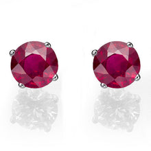Load image into Gallery viewer, Ruby Stud Earrings 14K - Diamonds Mine