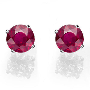 Ruby Stud Earrings 14K - Diamonds Mine