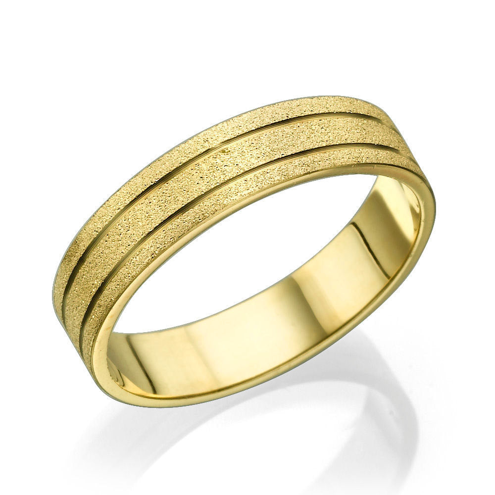 Gold Men Wedding Band In Sand Pattern and 3 Channels - Diamonds Mine