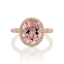 "Load image into Gallery viewer, 5 Carat 14K Yellow Gold Morganite & Diamonds ""Olivia"" Engagement Ring"