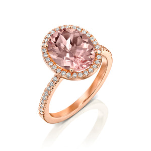 "4 Carat 14K Rose Gold Morganite & Diamonds ""Olivia"" Engagement Ring"