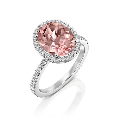 3 Carat 14K White Gold Morganite & Diamonds