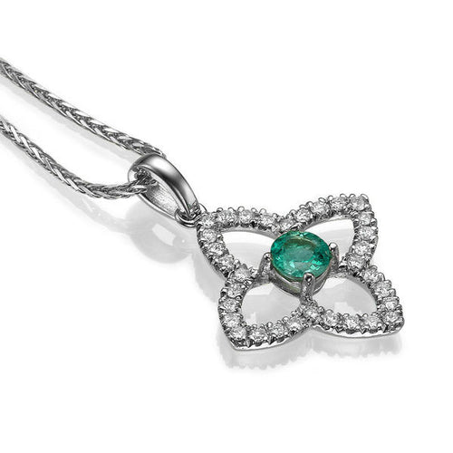 0.6 TCW 18K White Gold Emerald Flower Pendant | Diamonds Mine