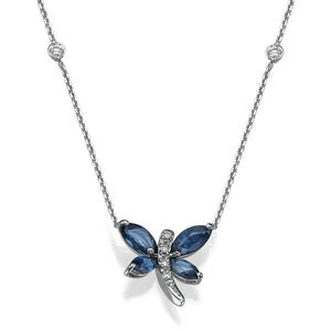 Sapphire Pendants 14K with diamonds model dragonfly - Diamonds Mine