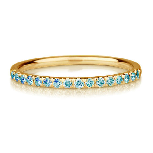 "0.20 TCW 14K Yellow Gold Fancy Blue Diamonds ""Amy"" Wedding Band - Diamonds Mine"