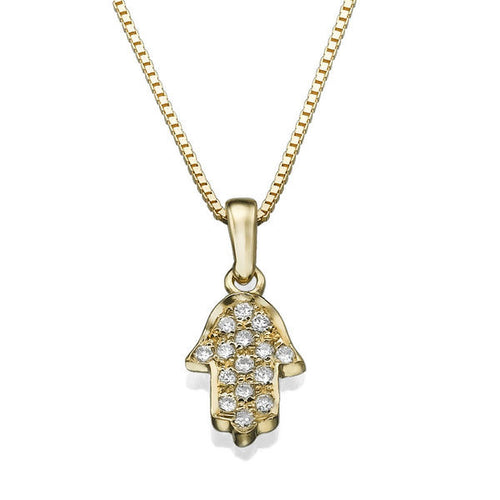 0.1 TCW 14K Yellow Gold Diamond Hamsa Pendant - Diamonds Mine