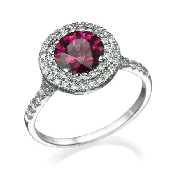 "1.1 TCW 14K White Gold Ruby ""Marcia"" Engagement Ring - Diamonds Mine"
