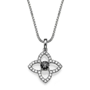 1.25 TCW 14K White Gold Black Diamond Flower Pendant | Diamonds Mine