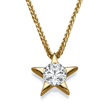 0.3 Carat 14k Yellow Gold Diamond Star Pendant - Diamonds Mine