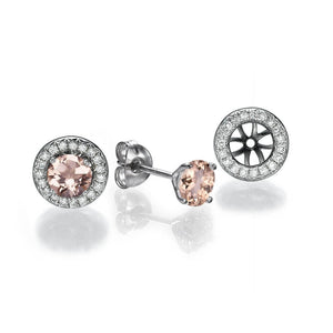 Morganite Stud Earrings with 40 diamonds 14K - Diamonds Mine