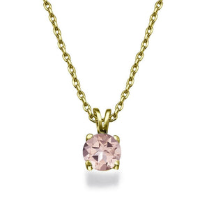 Round Shape Morganite Peach/Pink Gemstone Pendants 14K Solid Gold - Diamonds Mine