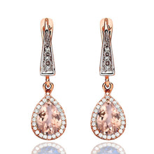 Load image into Gallery viewer, Morganite Dangle Earrings with 45 diamonds 14K - Diamonds Mine