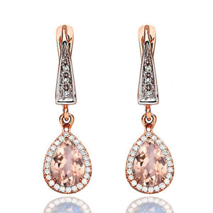 Morganite Dangle Earrings with 45 diamonds 14K - Diamonds Mine