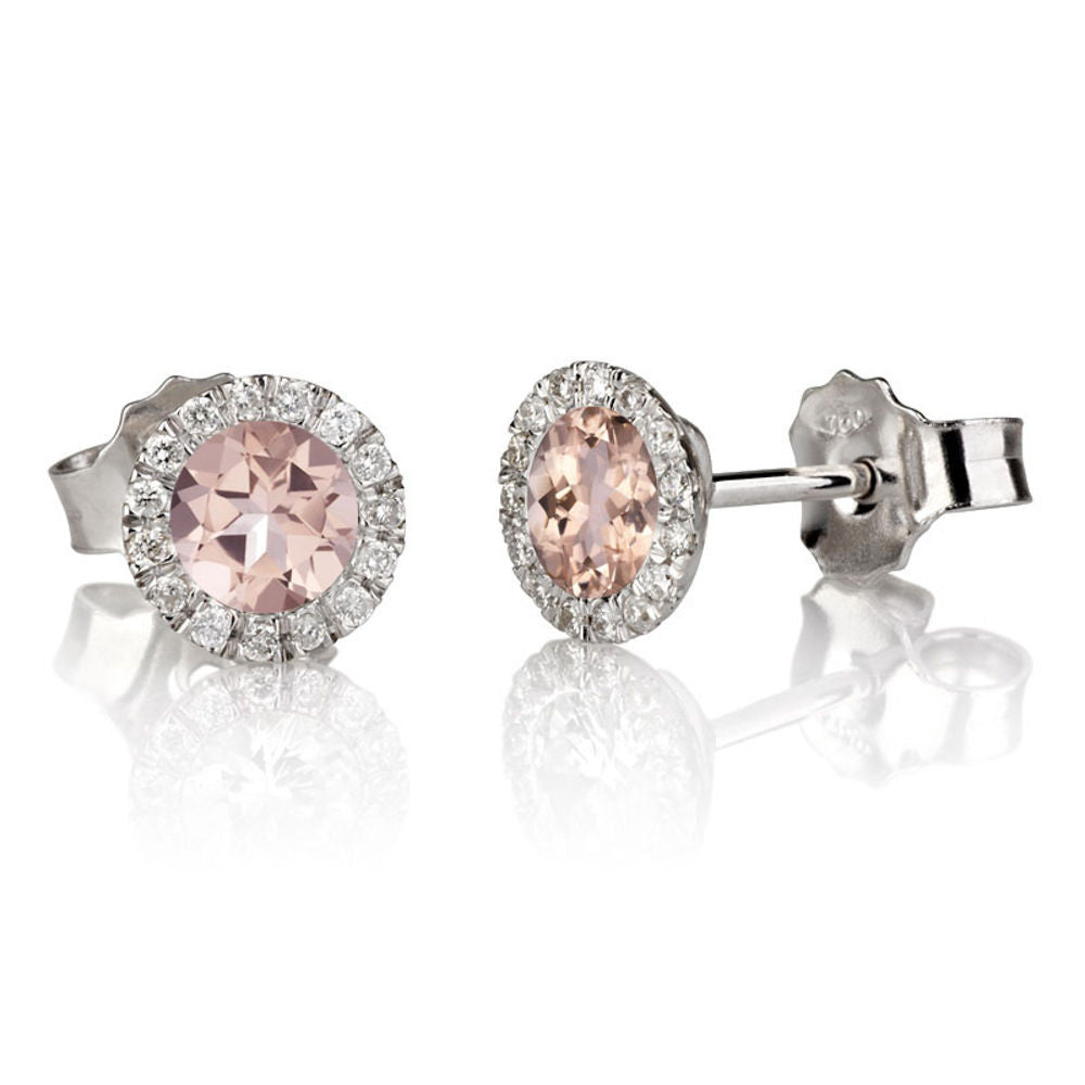 context diamond earrings halo and p gold morganite stud rose large