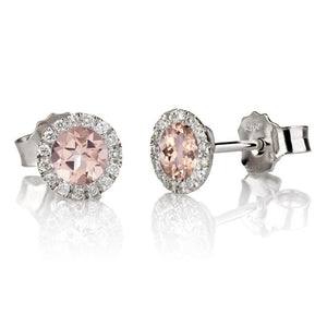 Morganite Stud Earrings with 30 diamonds 14K - Diamonds Mine