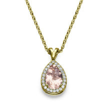 Load image into Gallery viewer, Pear Cut Morganite Pendants 14K Solid Gold with Diamonds - Diamonds Mine