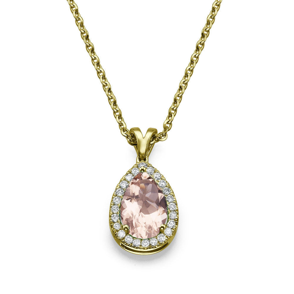 Pear Cut Morganite Pendants 14K Solid Gold with Diamonds - Diamonds Mine