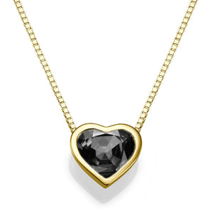 "1.5 TCW 14K Yellow Gold Black Diamond ""Heart"" Pendant"