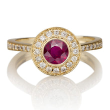 "Load image into Gallery viewer, 1.1 Carat 14K Yellow Gold Ruby & Diamonds ""Hope"" Engagement Ring"
