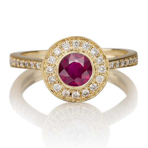 1.1 Carat 14K Yellow Gold Ruby