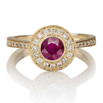 1.1 Carat 14K Yellow Gold Ruby & Diamonds