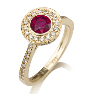 "1.1 Carat 14K Yellow Gold Ruby & Diamonds ""Hope"" Engagement Ring"
