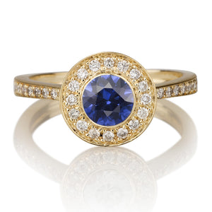 "1.12 TCW 14K Yellow Gold Blue Sapphire ""Hope"" Engagement Ring"