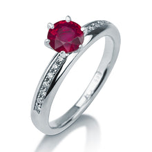 "Load image into Gallery viewer, 0.3 Carat 14K Yellow Gold Ruby & Diamonds ""Katey"" Engagement Ring"