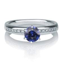 "Load image into Gallery viewer, 0.8 Carat 14K Yellow Gold Blue Sapphire & Diamonds ""Katey"" Engagement Ring"