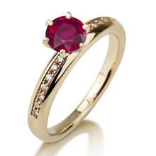 "Load image into Gallery viewer, 0.34 TCW 14K Yellow Gold Ruby ""Katey"" Engagement Ring - Diamonds Mine"
