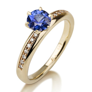 "0.8 Carat 14K Yellow Gold Blue Sapphire & Diamonds ""Katey"" Engagement Ring"