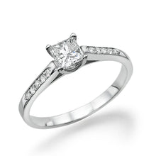 "Load image into Gallery viewer, 0.5 Carat 14K Yellow Gold Moissanite & Diamonds ""Rebecca"" Engagement Ring"