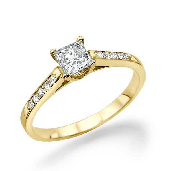 "0.4 Carat 14K Yellow Gold Moissanite ""Rebecca"" Engagement Ring - Diamonds Mine"