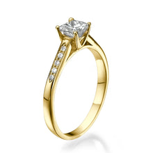 "Load image into Gallery viewer, 0.5 Carat 14K Rose Gold Moissanite & Diamonds ""Rebecca"" Engagement Ring"