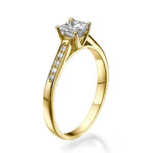 "0.5 Carat 14K Yellow Gold Moissanite & Diamonds ""Rebecca"" Engagement Ring"