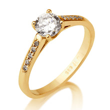 "Load image into Gallery viewer, 0.6 Carat 14K Rose Gold Moissanite & Diamonds ""Melissa"" Engagement Ring"