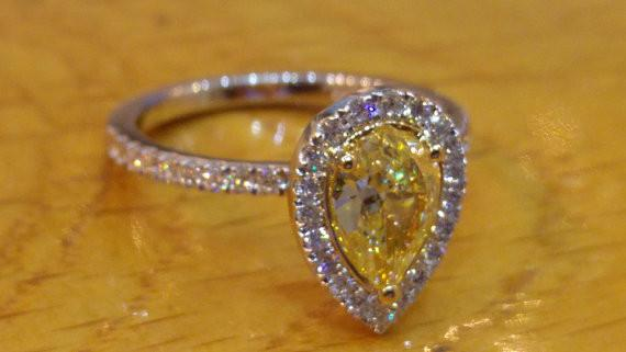 14K White Gold Natural Fancy Yellow Diamond Engagement Ring - Diamonds Mine