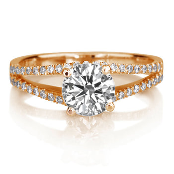 1.1 TCW 14K Rose Gold Moissanite & Diamonds