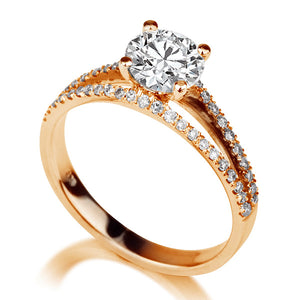 "1.1 TCW 14K Yellow Gold Moissanite  & Diamonds ""Beverly"" Engagement Ring"
