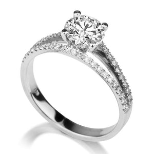 "1.1 TCW 14K White Gold Moissanite & Diamonds ""Beverly"" Engagement Ring"