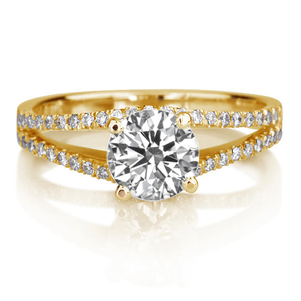 1.1 TCW 14K Yellow Gold Moissanite  & Diamonds