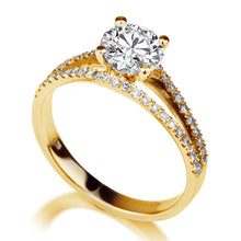 "Load image into Gallery viewer, 1.1 TCW 14K Yellow Gold Moissanite  & Diamonds ""Beverly"" Engagement Ring"