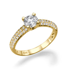 "Load image into Gallery viewer, 1.3 Carat 14K Yellow Gold Moissanite & Diamonds ""Carmen"" Ring"