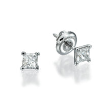 "Load image into Gallery viewer, 1 Carat 14K White Gold Princess Diamond ""Una"" Earrings"