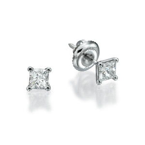 "1 Carat 14K White Gold Princess Diamond ""Una"" Earrings"