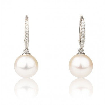 14K White Gold Pearl Earrings - Diamonds Mine