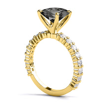 "Load image into Gallery viewer, 1.9 Carat 14K White Gold Black Diamond ""Gloria"" Ring"
