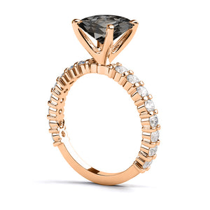 "1.9 Carat 14K Yellow Gold Black Diamond ""Gloria"" Ring"