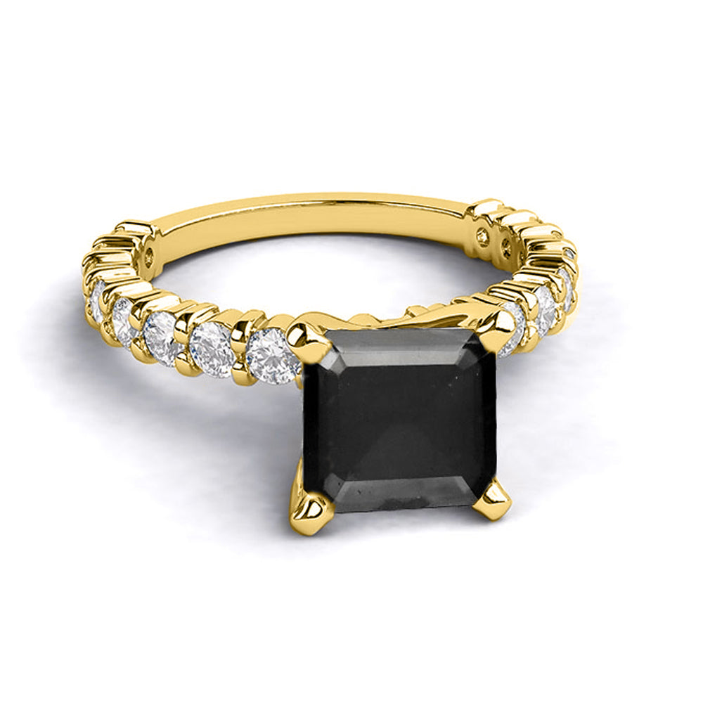 1.9 Carat 14K Yellow Gold Black Diamond